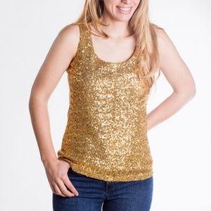 Anne Klein Gold Sequin Tank XL